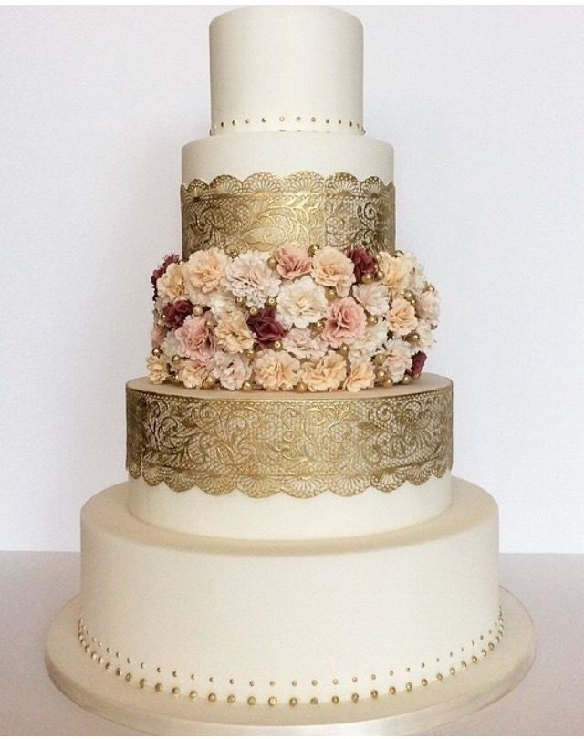 Gold Lace Cake Detailing With Floral In The Middle Cake