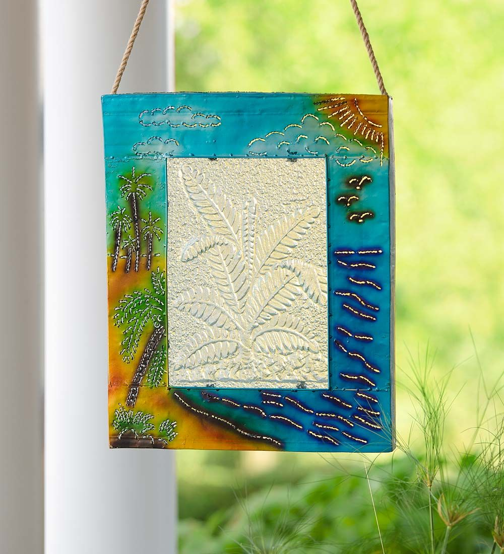 Handcrafted lighted tropical metal and glass wall art home decor