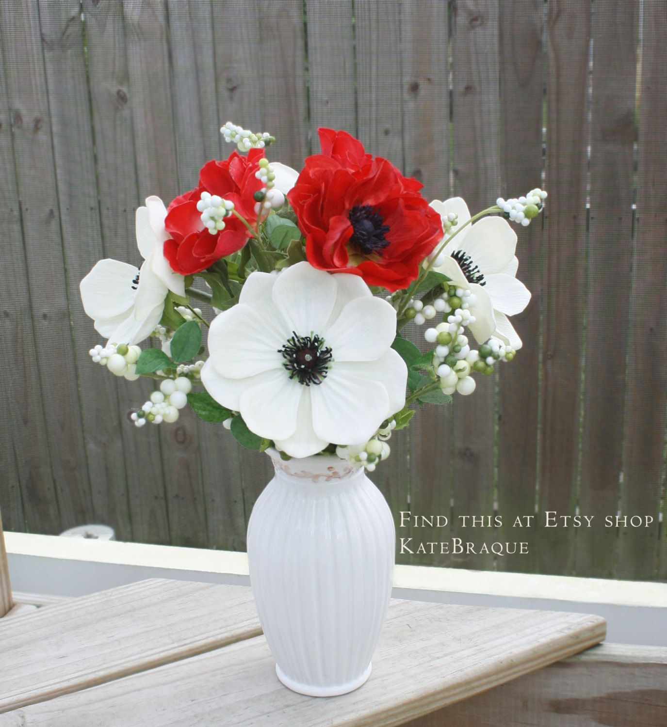 Real touch white anemone faux red anemone flower bouquet real touch white anemone faux red anemone flower bouquet centerpiece by katebraque on etsy izmirmasajfo