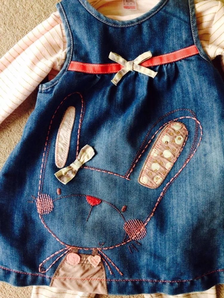58098ca5c3 Baby Girls Next Denim Pinafore Dress Set.Size  9-12 Months