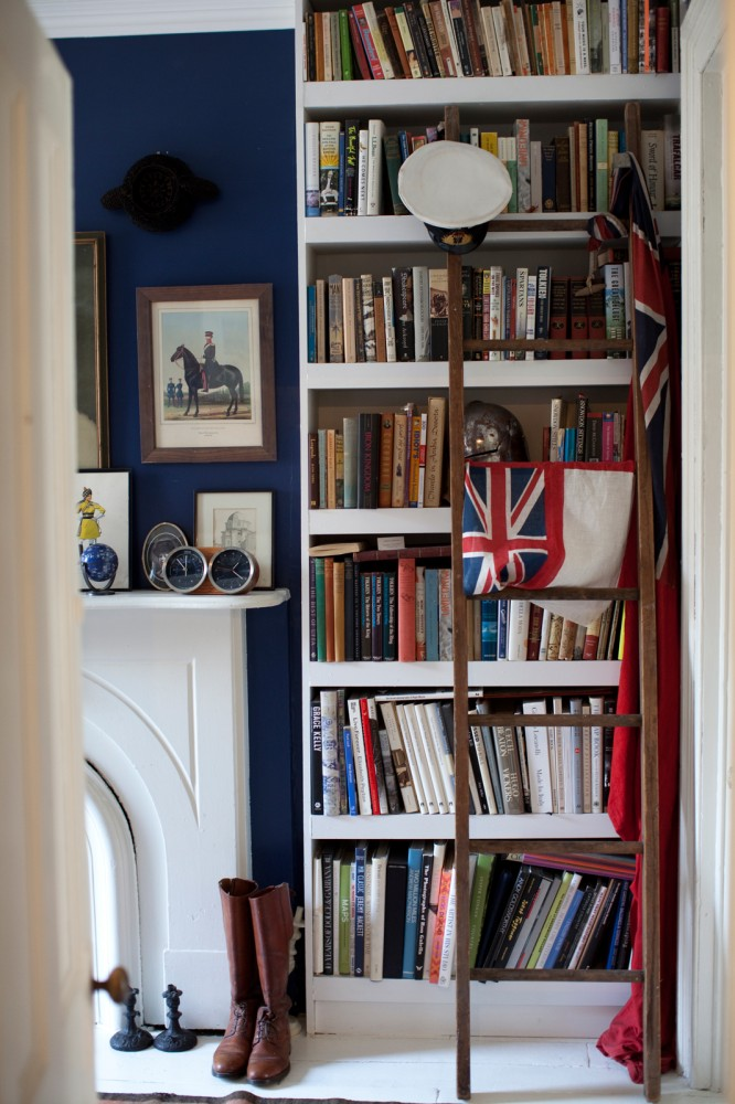 Library Ladder Books Love Bookshelf Royal Blue Walls Navy Rooms