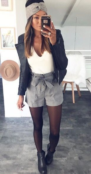 black tights plaid shorts black ankle boots white top black leather jacket grey … – Christmas-Desserts