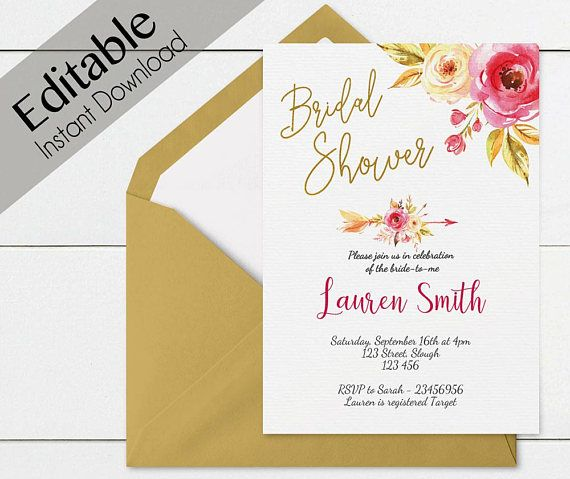 Instant Download Editable PDF Bridal Shower Invitation Convites