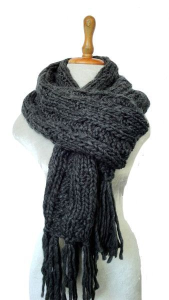 French Knit Scarf in Charcoal