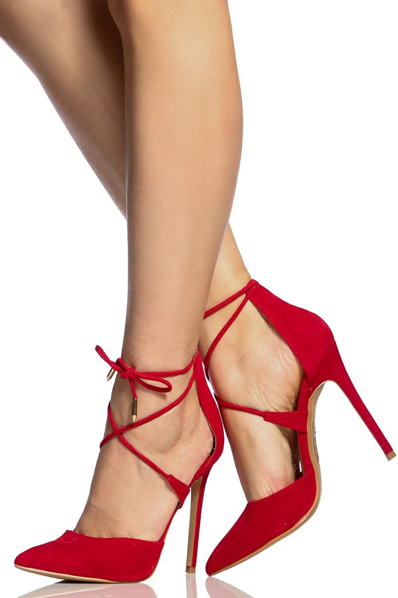 bdaa805eac4 Red Faux Suede Pointed Toe Lace Up Heels   Cicihot Heel Shoes online store  sales Stiletto Heel Shoes
