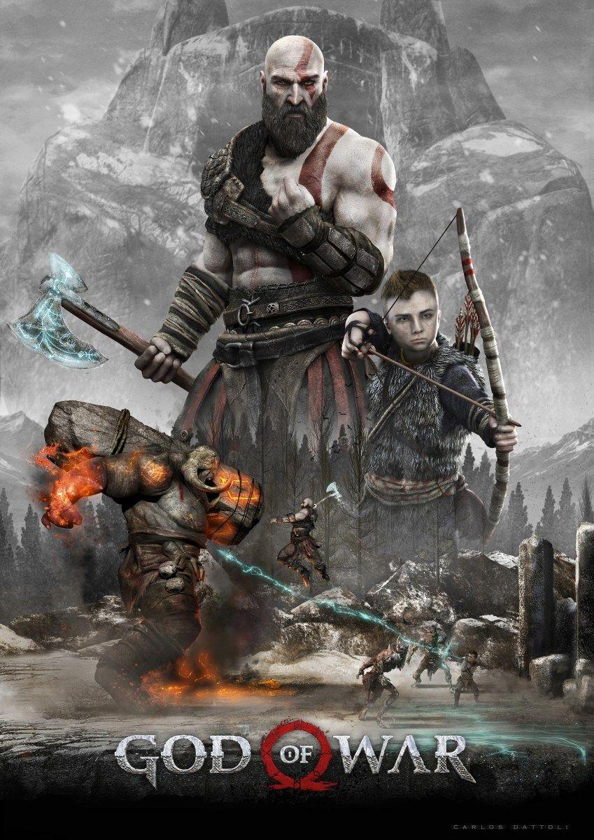 God Of War 4 Poster Wallpaper Kratos In Combat Kratos God Of War God Of War War