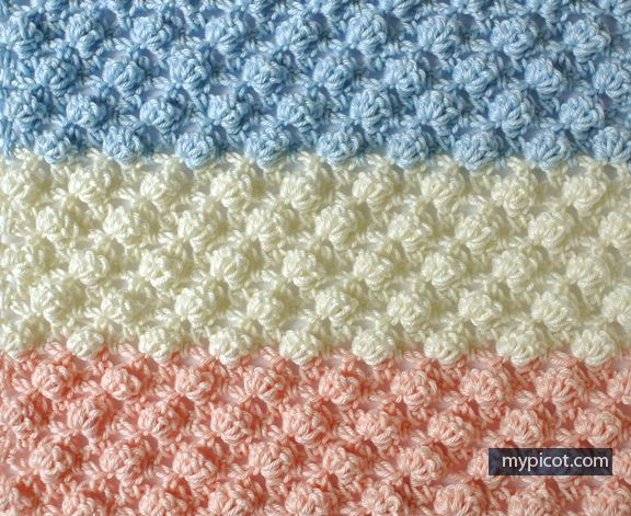 Crochet Textured Bobble Stitch Tutorial - (mypicot) | Crochet, How ...