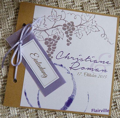 Einladungskarten Hochzeit zum Thema Wein in flieder und