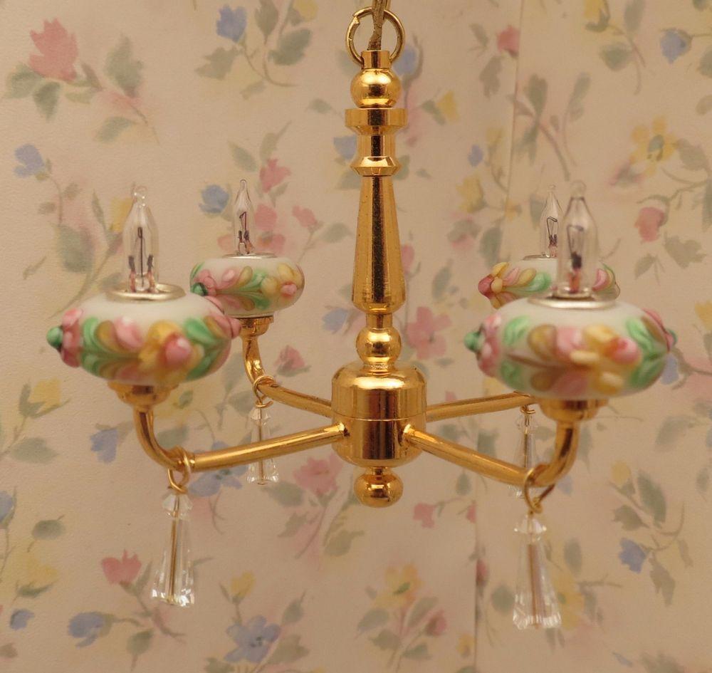 Dollhouse Miniature Ornate  Pink Victorian Hanging Lights