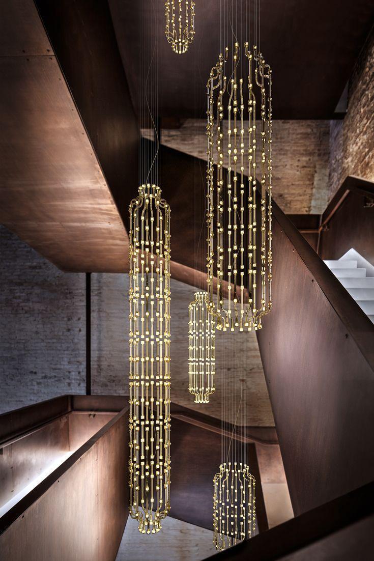 italian bespoke designer vertical modular gold chandelier lighting