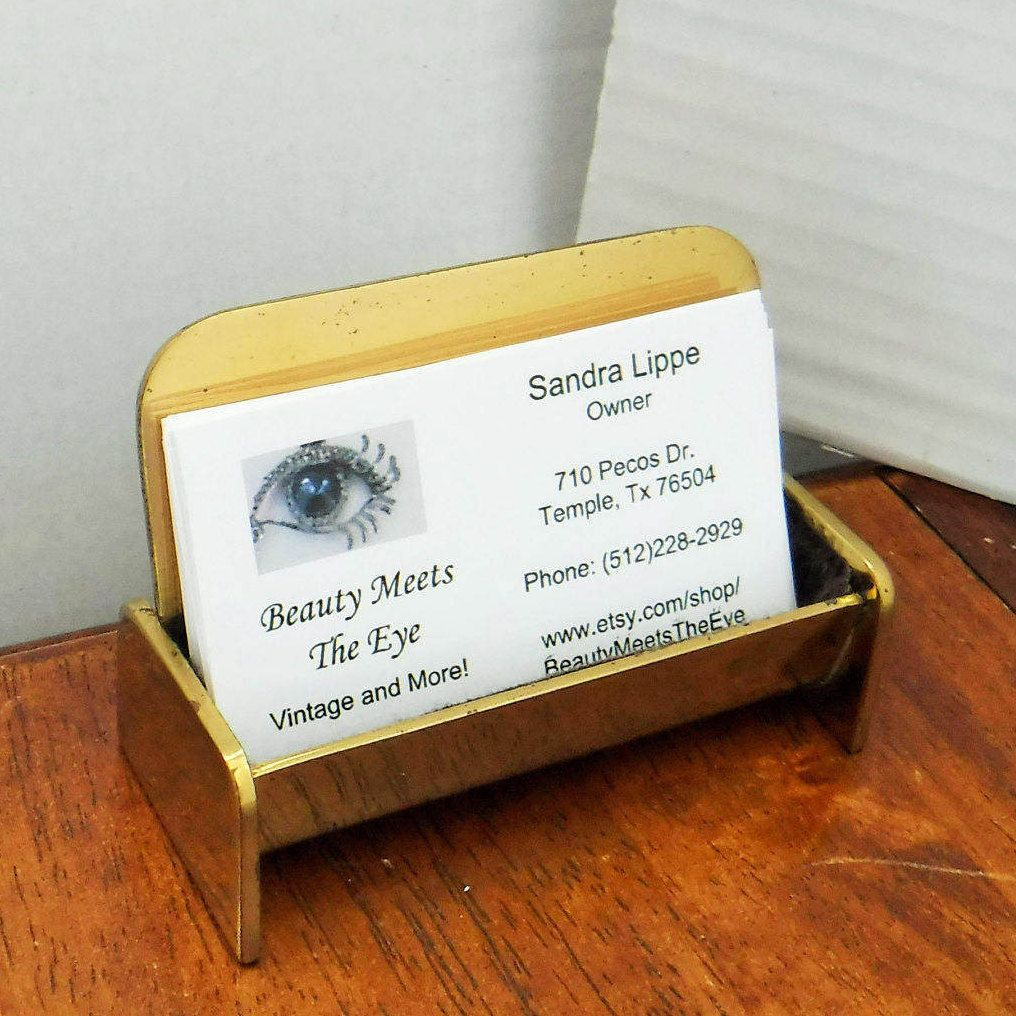 Vintage Brass Card Holder, Business Card Display, Brass Business ...