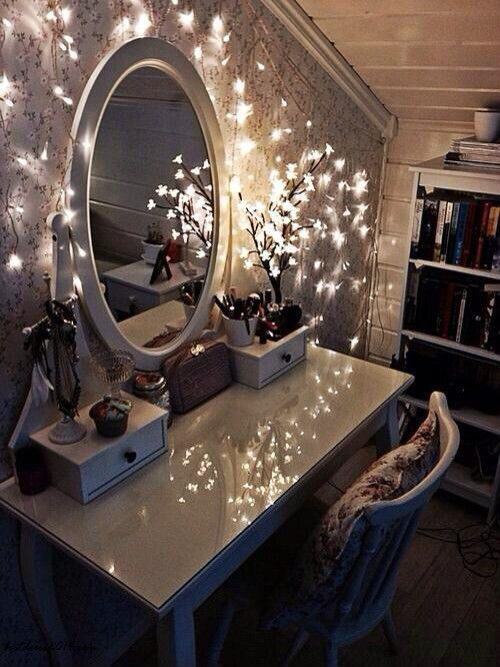 Never too many lights cool creative pinterest fairy ikea furniture antique white makeup table with oval mirror and lights for sloped ceiling decorating ideas show perfect beauty in maximum way by using solutioingenieria Gallery