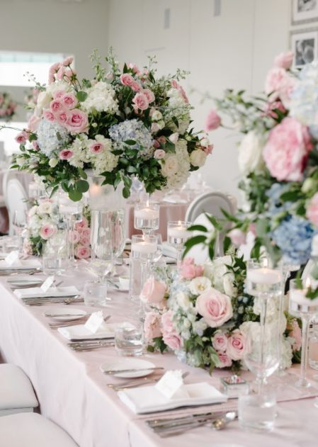 Pink Blue And White Floral Wedding Reception Centerpiece Wedding