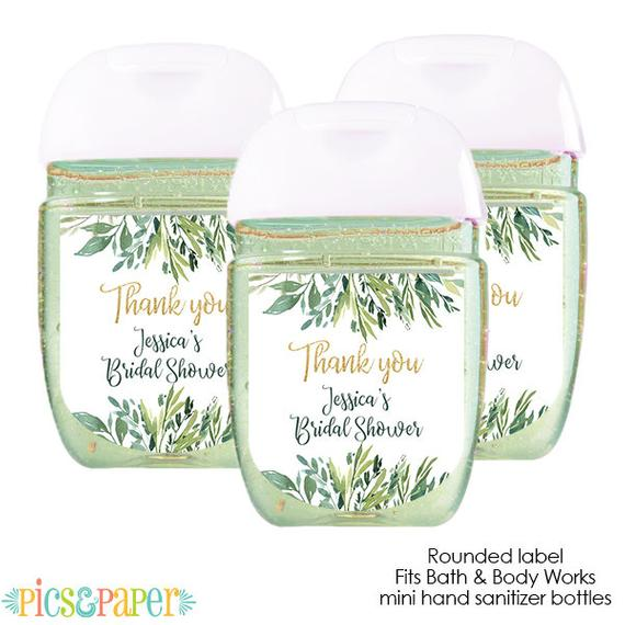 Mini Hand Sanitizer Labels Greenery Green Leaves And Gold