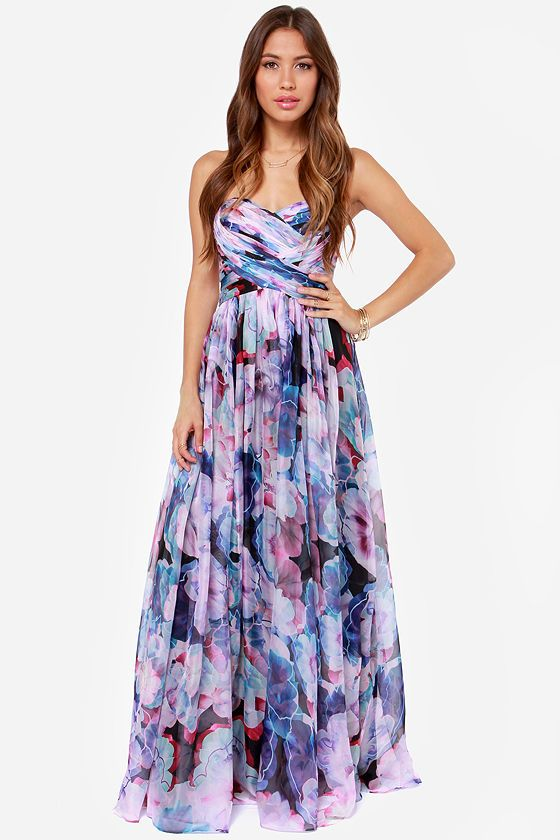 697ff345f5ca Bariano Special Effects Purple Floral Print Maxi Dress