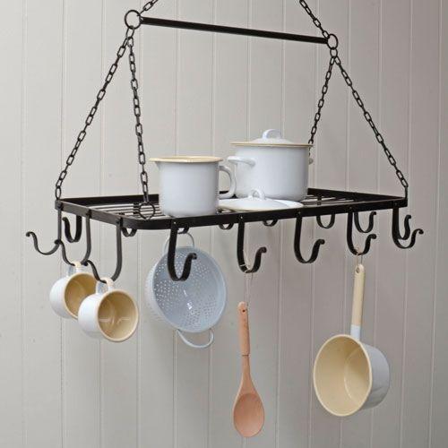 Porte ustensiles de cuisine  suspendre métal noir 16 crochets