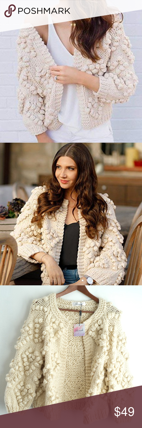 Chicwish Heart Shape Balls Cardigan Ball Trim Sweaters For Women Casual Looks