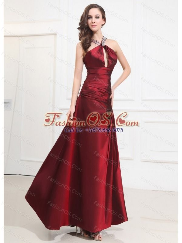 Beading Taffeta Prom Dress Halter A-Line Wine Red Floor-length ...