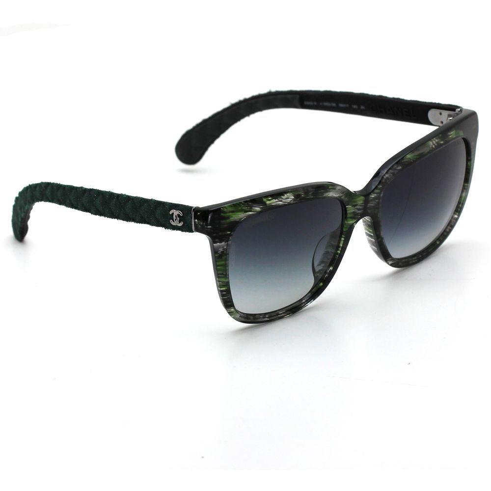 8e5b0082bcbff Chanel 5343 Signature Square Sunglasses Green Frame with Gray Gradient  Lenses  CHANEL  Square