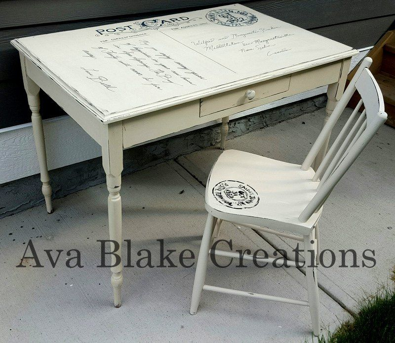 Custom Antique Postcard Table and Chair Set DIY Makes a lovely desk