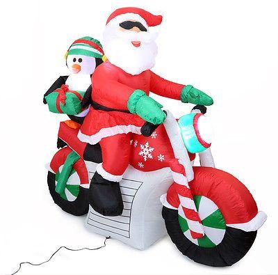 weihnachtsmann mit motorrad aufblasbar 140cm hoch