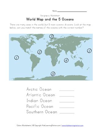 5 Oceans Geography Worksheet Geography Worksheets Kindergarten Worksheets Social Studies Worksheets