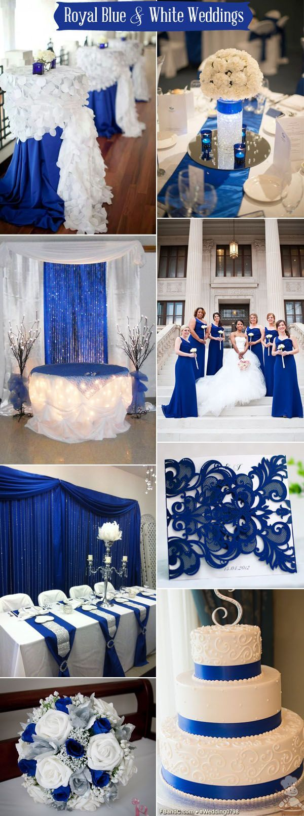 Wedding decor blue and white   Pretty Navy Blue and White Wedding Ideas  Blue wedding colors