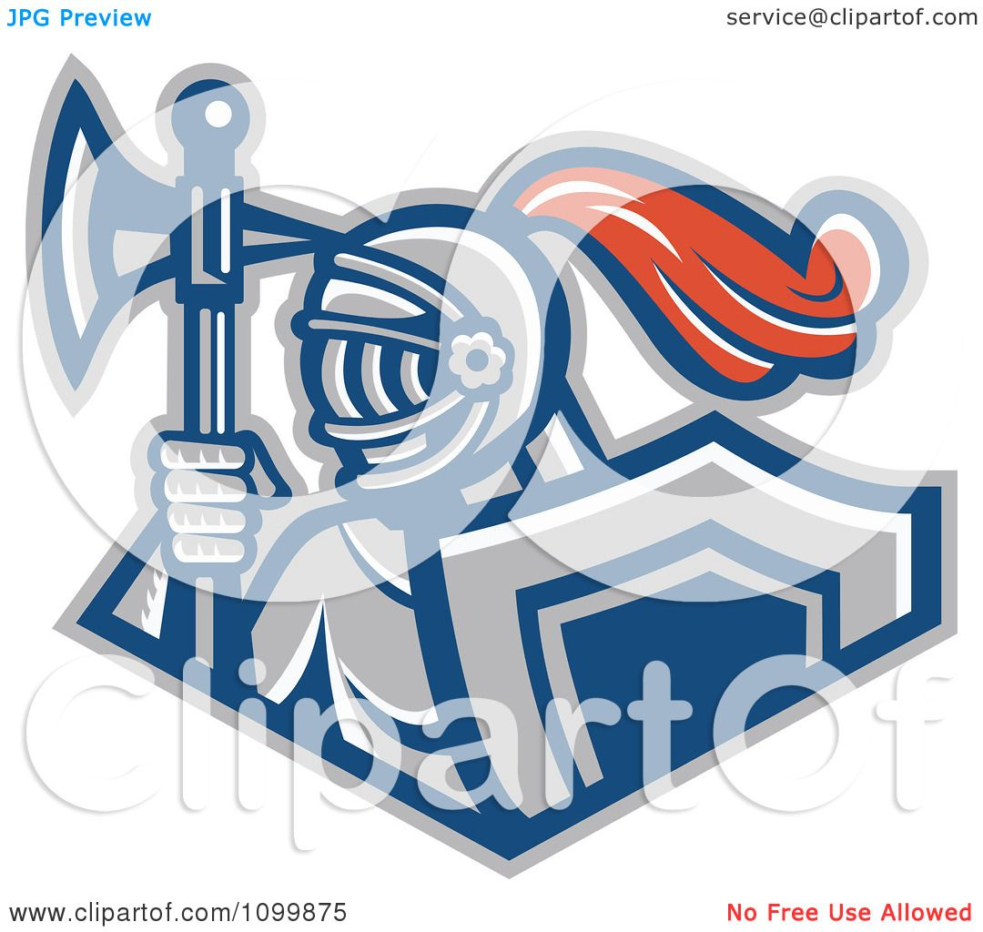 Clipart Retro Knight With A Spear Ax And Shield Royalty Free