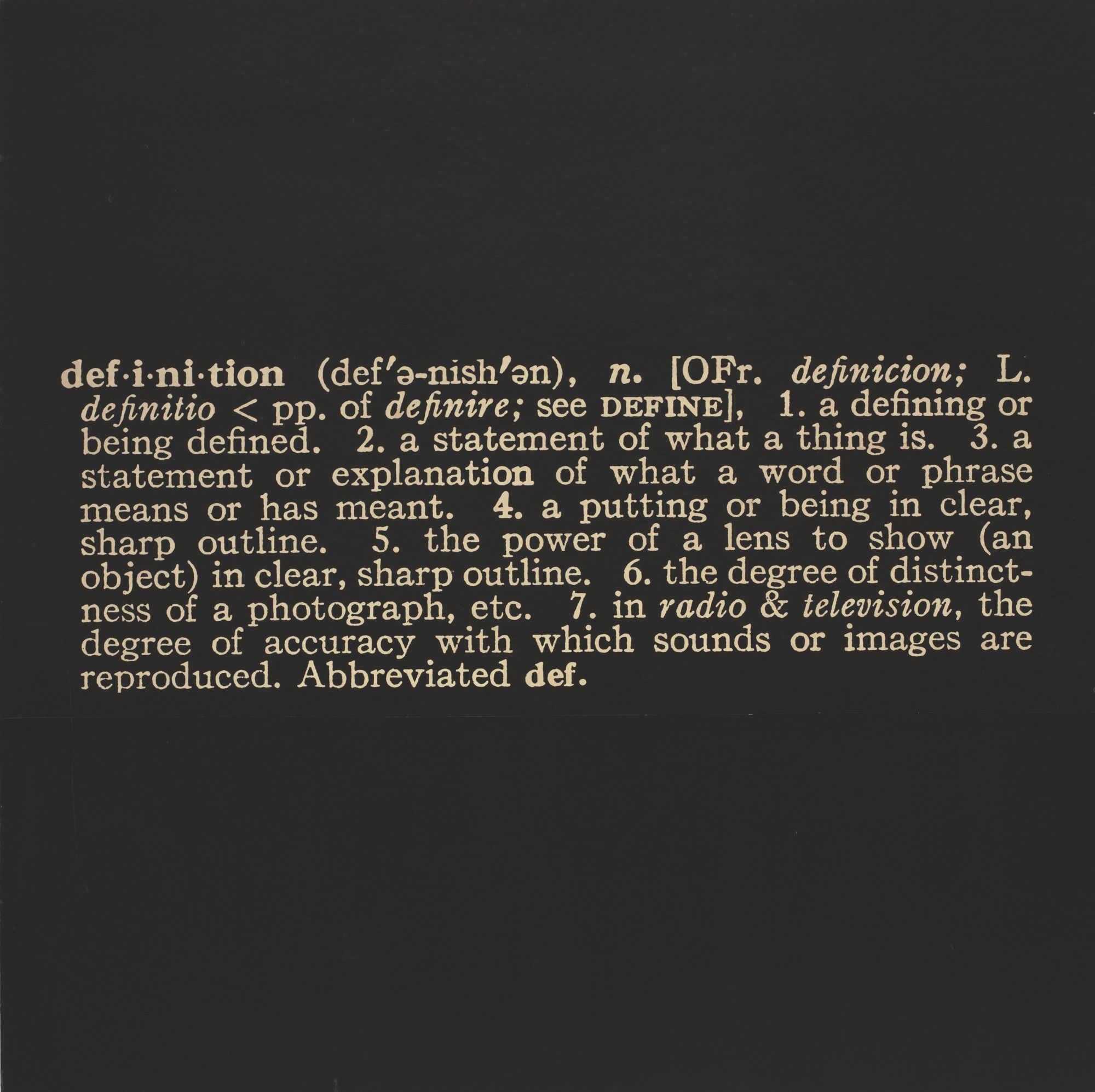 Joseph Kosuth Titled Art As Idea As Idea The Word Definition 1966 68 Mounted Photographic Enlargement Of T Word Definitions Joseph Kosuth Phrase Meaning