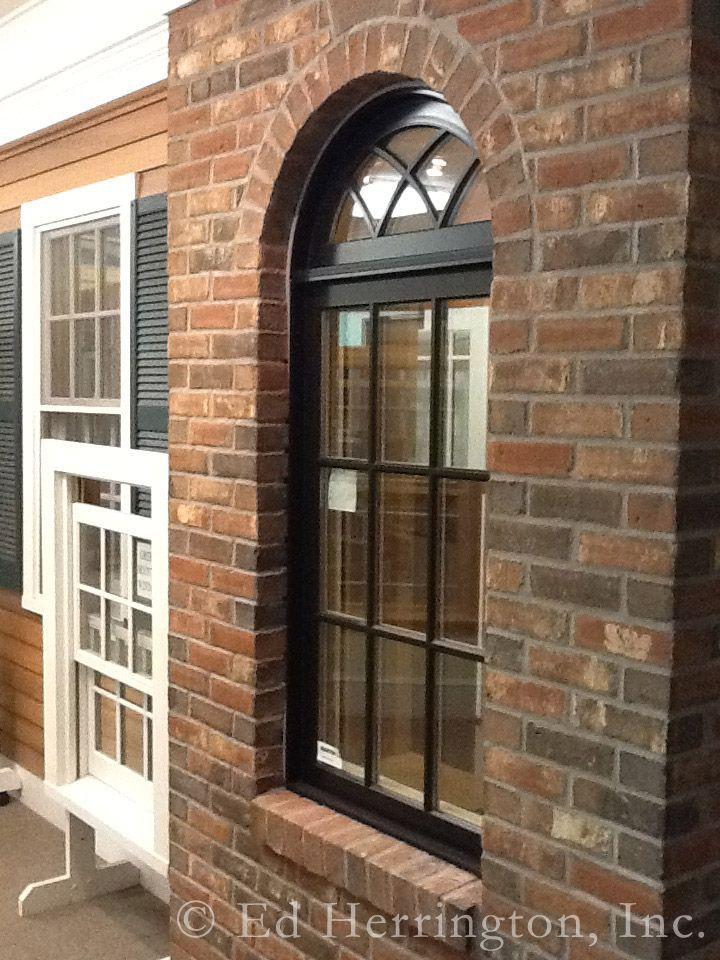 Marvin Ultimate Ebony Clad Casement Window With Gothic Half Round Windows Exterior Casement Windows Windows And Patio Doors