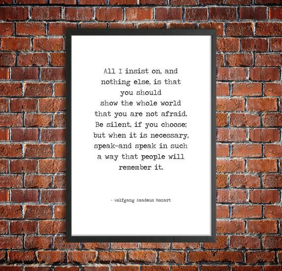 Mozart Hand Typed Printable Quote 'You Are Not Afraid' Monochrome Instant Download Inspirational Pos #excelwordaccessetc