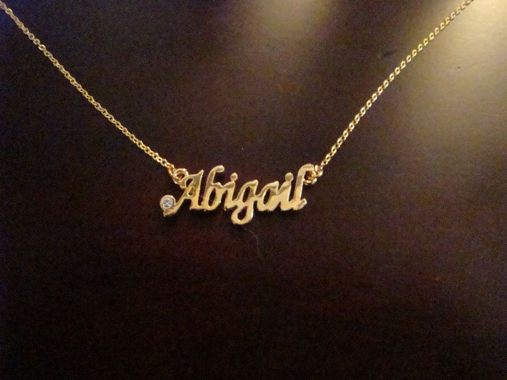 PERSONALIZED NAME NECKLACE w/Stone GOLD or SILVER, CHOOSE FROM ...