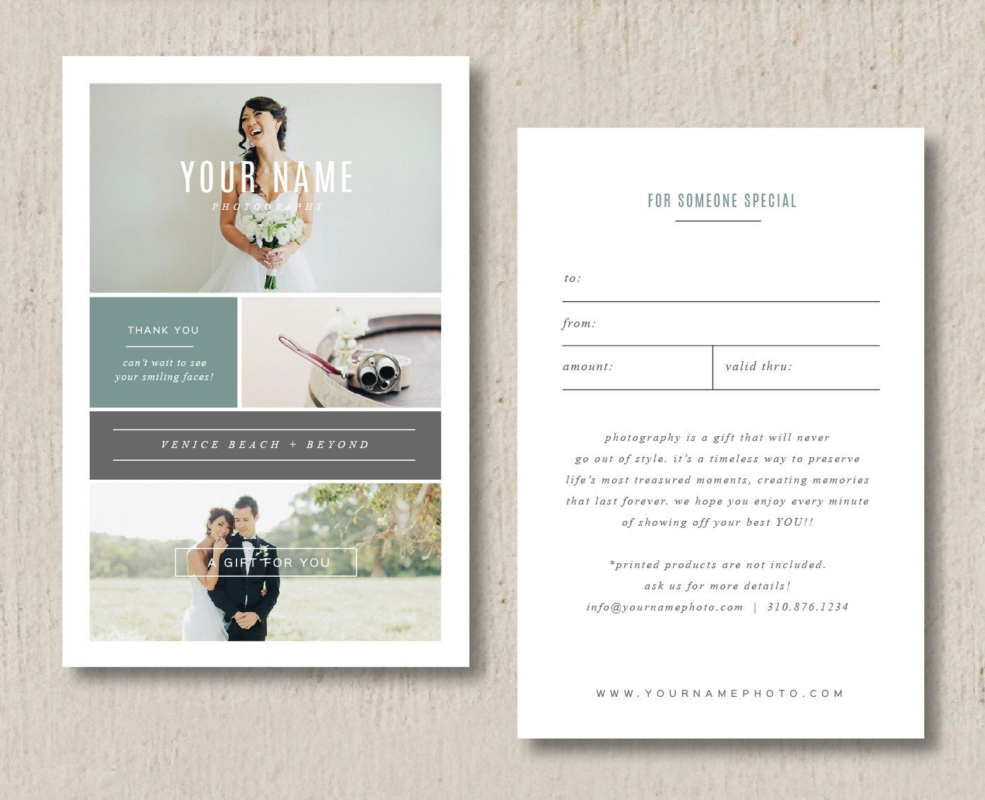 Photography Gift Card Template Wedding Photography Marketing