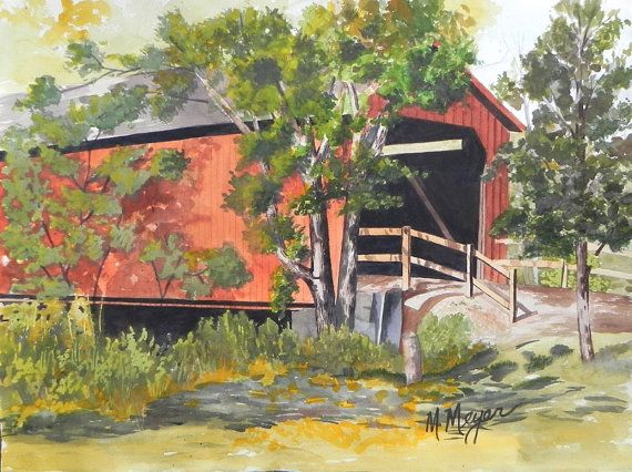 Original Watercolor Landscape of Covered Bridge by ArtbyMarguerite, $140.00