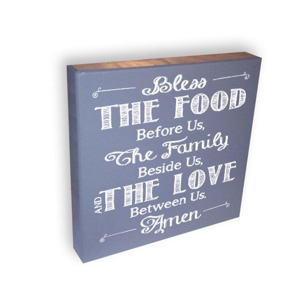 Box Sign - Bless The Food - Gray Sign - Wall Decor by ...