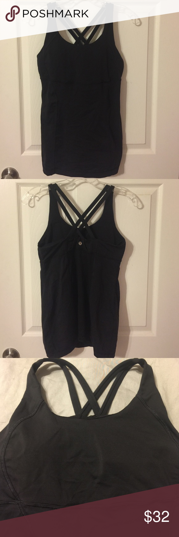Lululemon tank Solid black tank in excellent condition. Criss-cross straps. Bra top with removable pads (included). Size 8, but tag has been removed. Hits just below hip. Super flattering on! lululemon athletica Tops Tank Tops