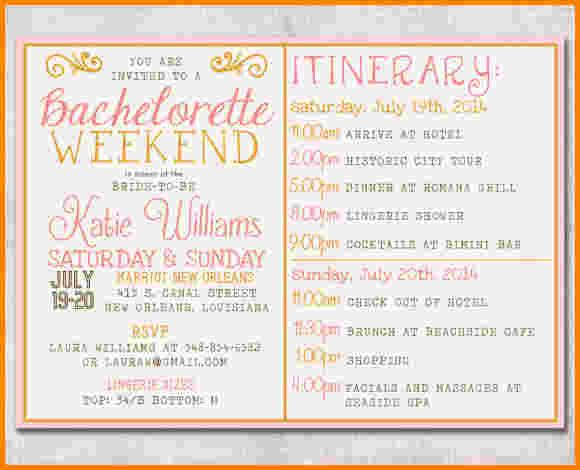 Image Result For Bachelorette Itinerary Template  Pine Roses