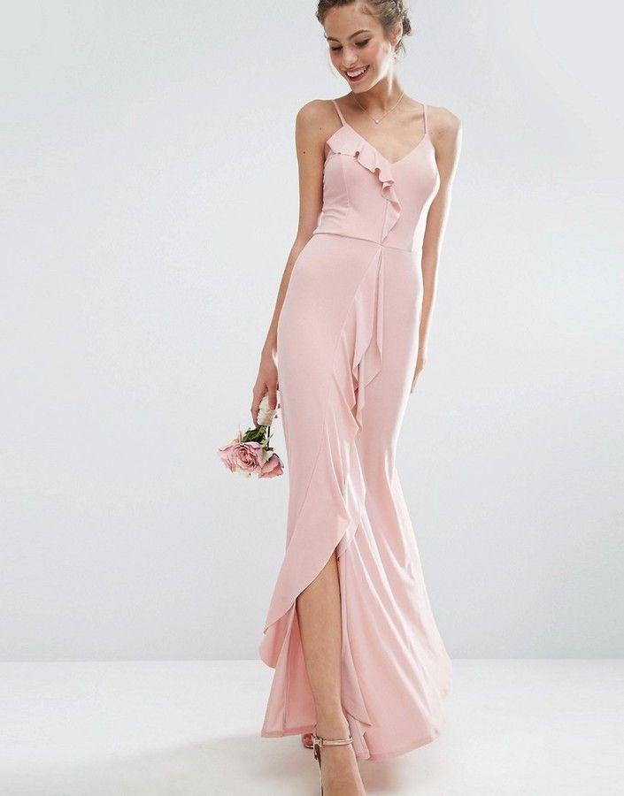01a34e5564 ASOS WEDDING Cami Frill Maxi Dress nude wedding dress. boho cheap wedding  dress. 2018 2019