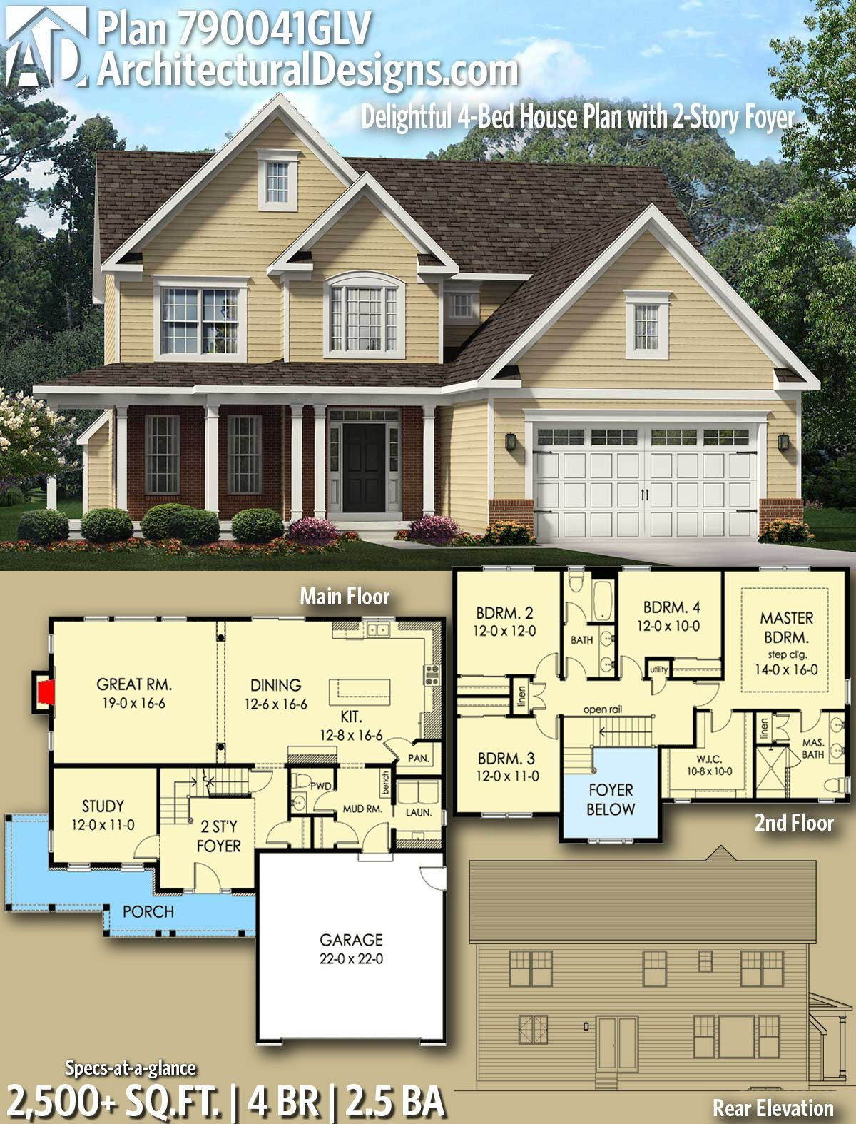 Plan 790041glv Delightful 4 Bed House Plan With 2 Story Foyer In 2020 Sims House Plans House Blueprints House Plans