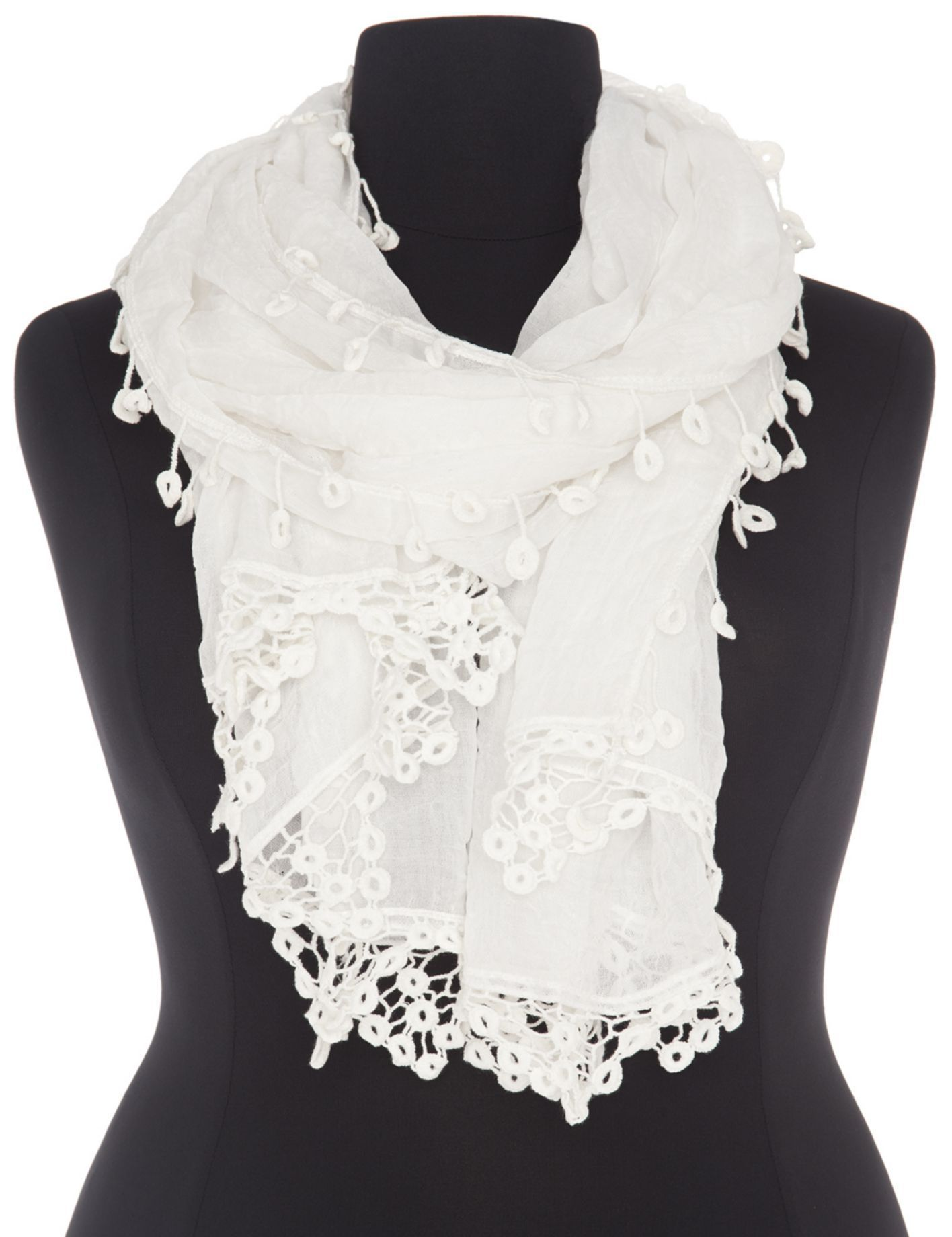 Crocheted trim scarf by Lane Bryant - Found on HeartThis.com @HeartThis
