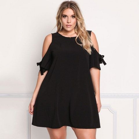 Plus Size Cold Shoulder Cut Out Dress