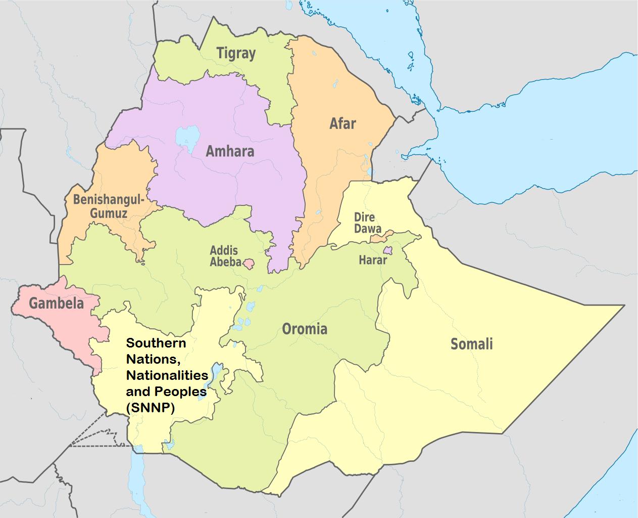 Ethiopia Regions Map Lugares para visitar Pinterest Ethiopia
