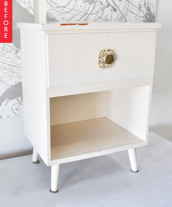 """Unique Nicole found this frumpy side table on craigslist for """"almost free"""" and wanted to use it in her bedroom But first it needed a spruce up and boy did it Simple - Elegant side table with drawer New Design"""