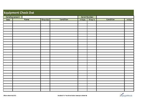 Printable equipment checkout form pdf for Sign in and out log template