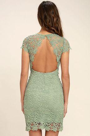 Hidden Talent Backless Sage Green Lace Dress #sagegreendress
