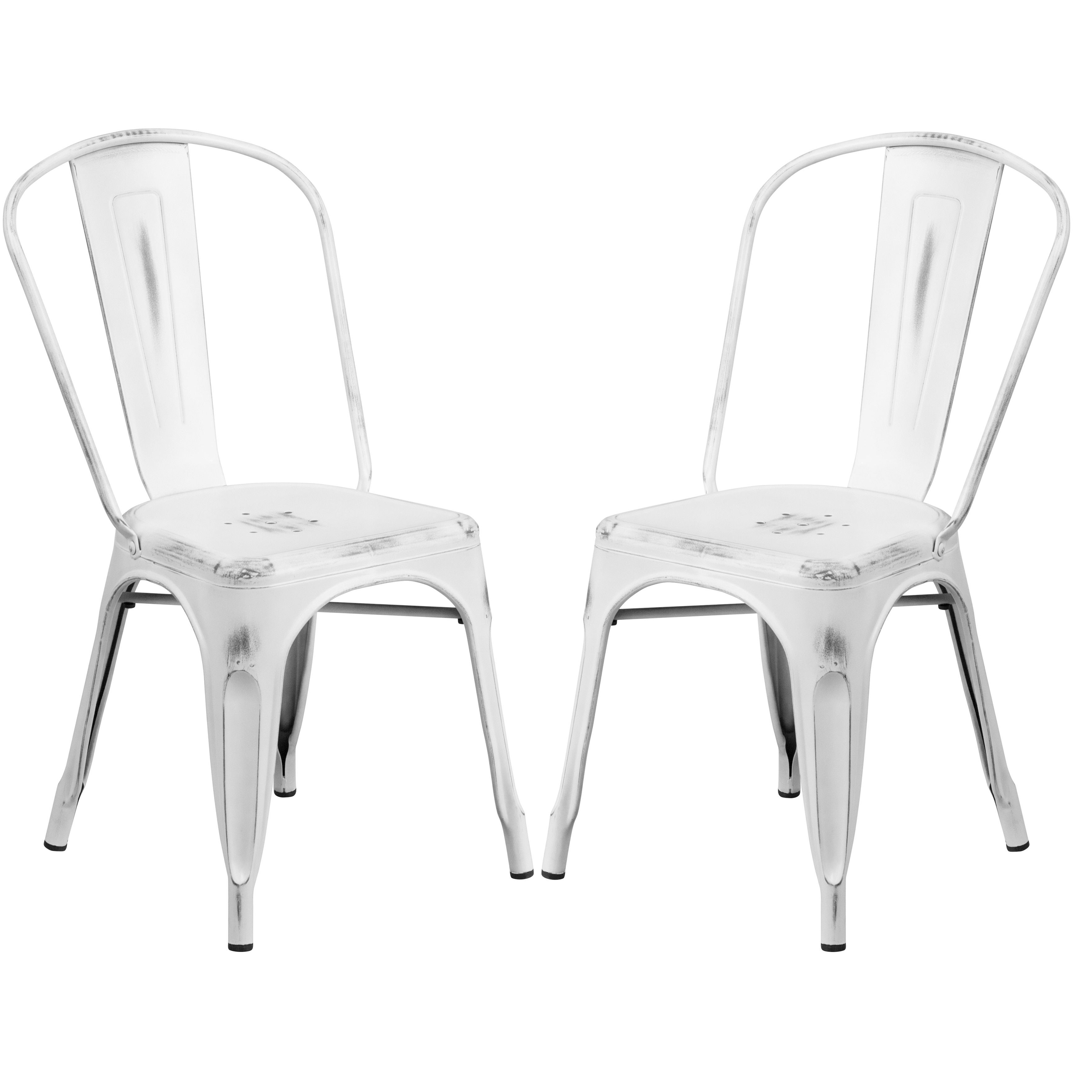 White Distressed Metal Bistro Style Chair 4 Chairs Patio
