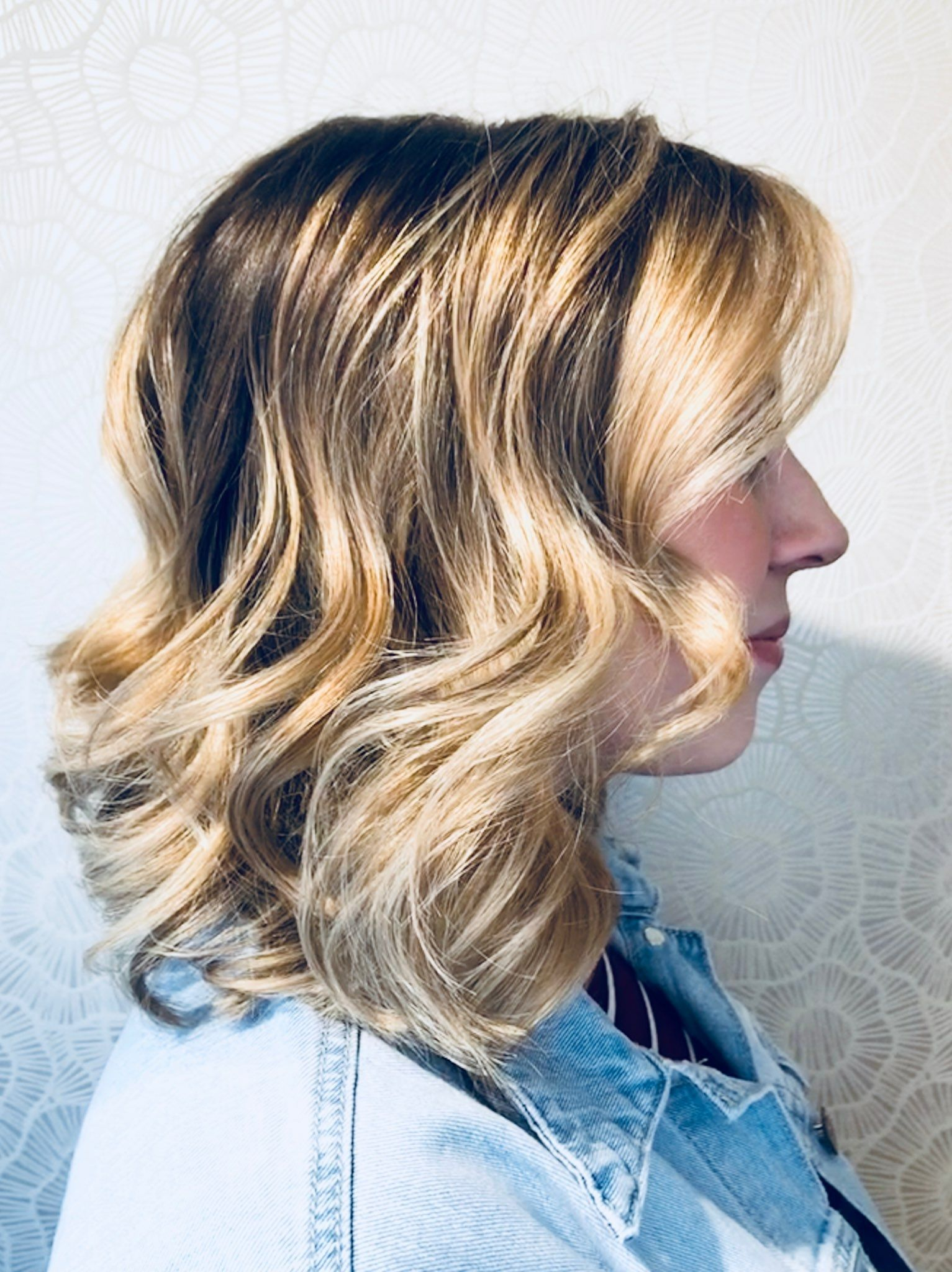 """She s a """"cool blonde"""" with deep roots 😎 Balayage & haircut by Ally"""