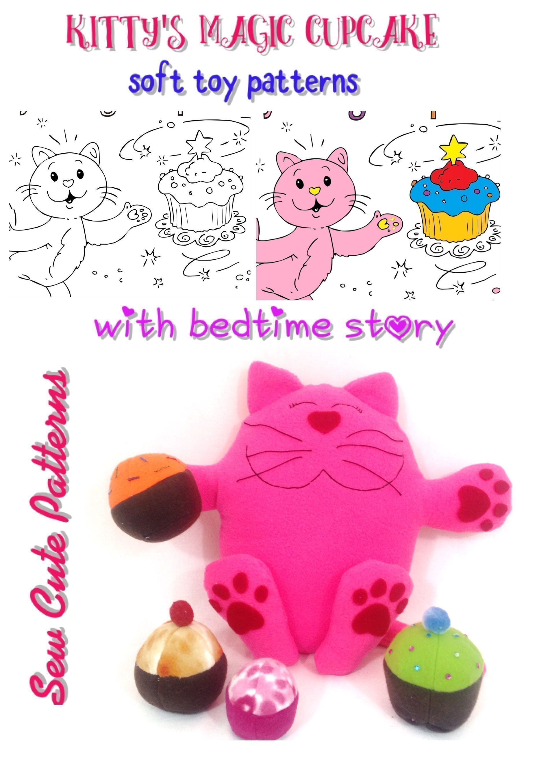 Soft toy pattern book includes a cat pattern and plushie cupcake