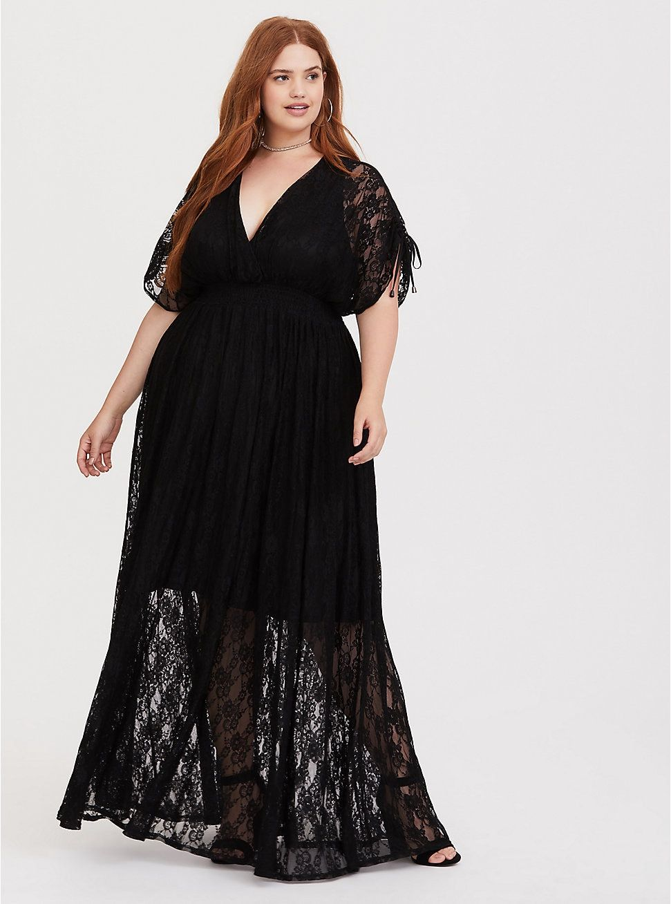 Plus size maxi dresses for summer wedding  Black Stretch Lace Maxi Dress in   Plus Size Date SpringSummer