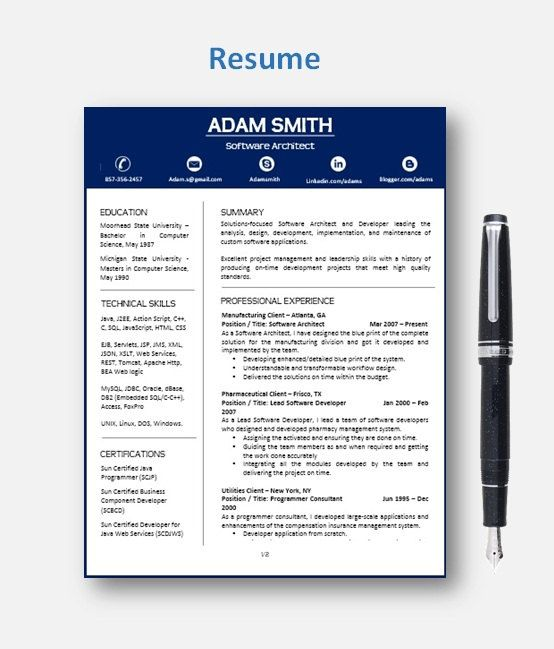 Resume Template | Cv Template With Add-On For Extra Pages, Cover